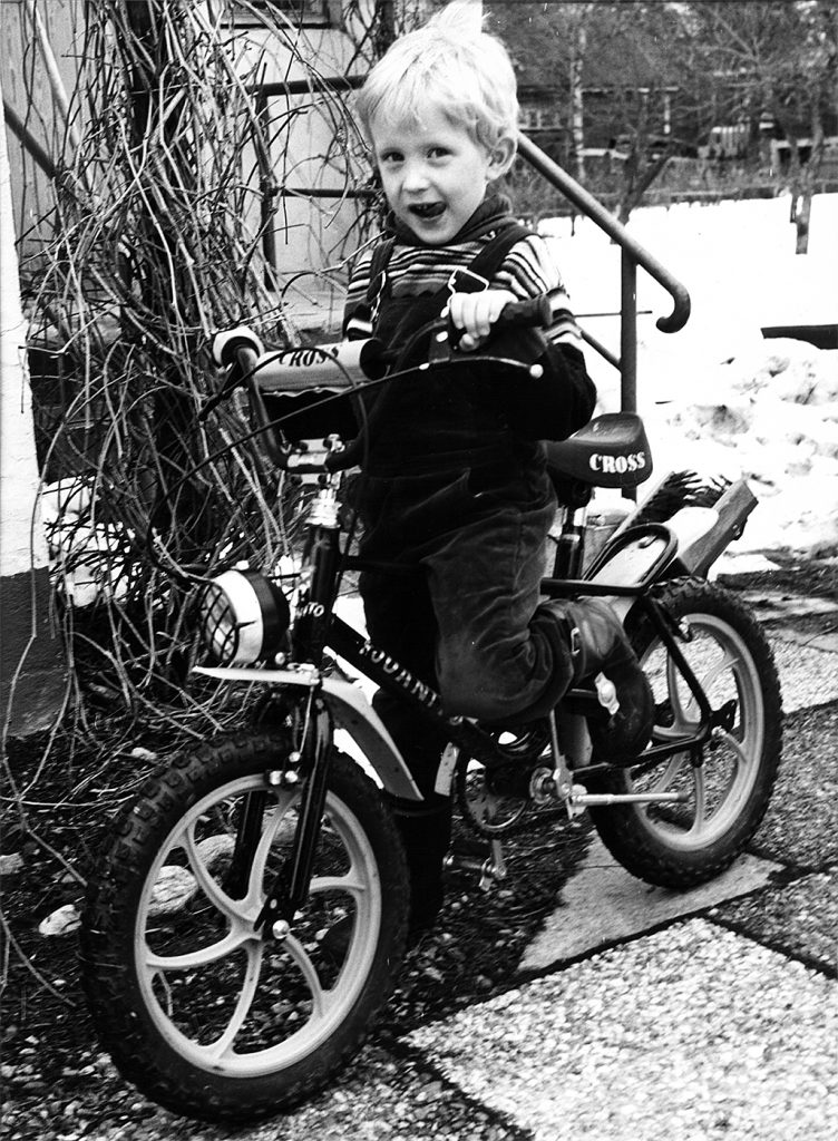 Jani Parikka as a child with a bike