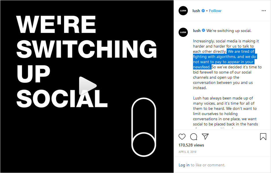 Screenshot of Slush's Instagram post.